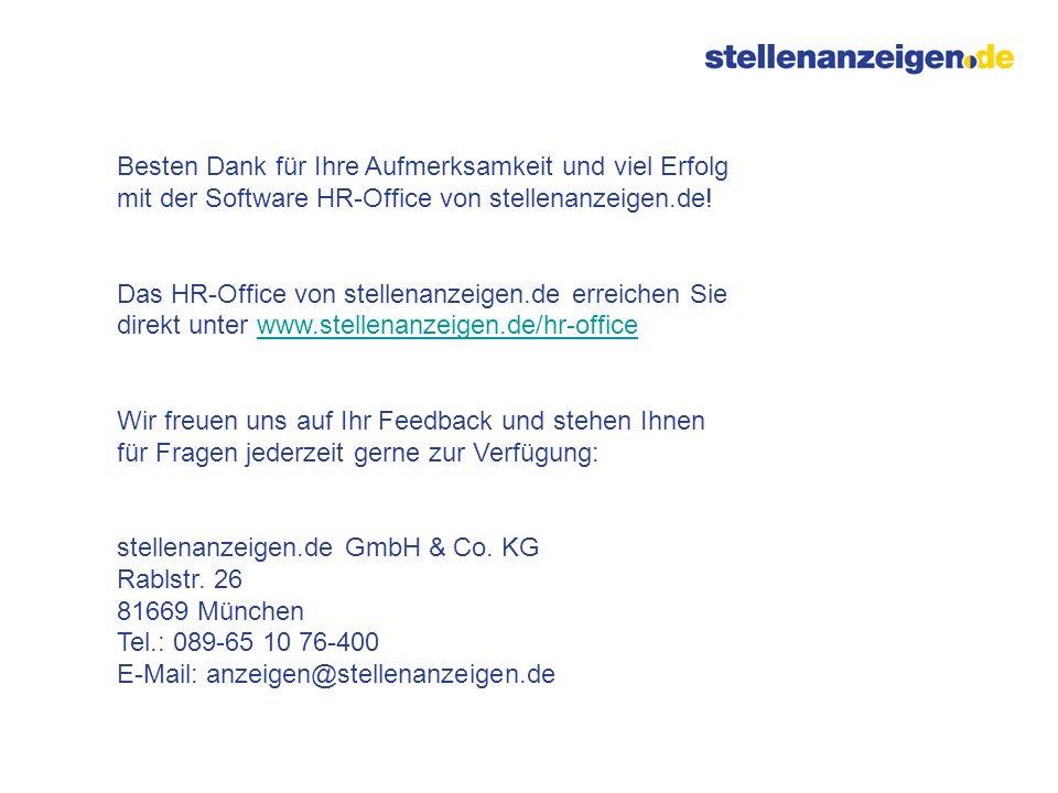 Besten Dank für Ihre Aufmerksamkeit und viel Erfolg mit der Software HR-Office von stellenanzeigen.de!