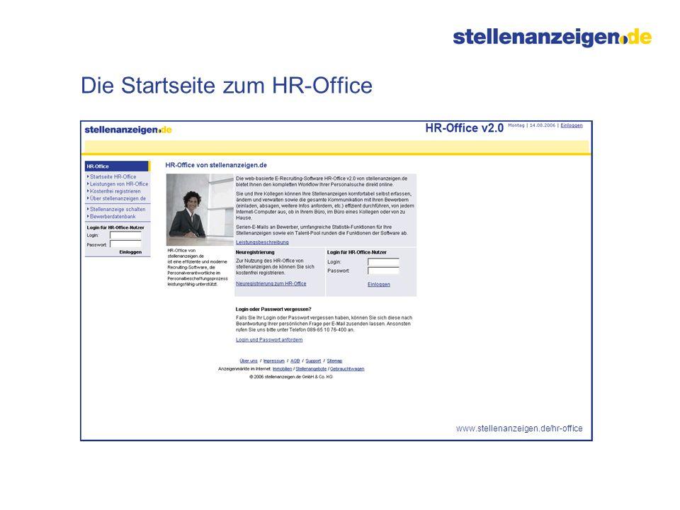 Die Startseite zum HR-Office