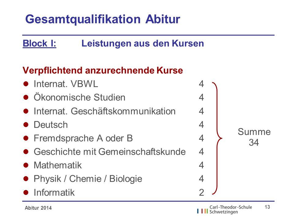 Gesamtqualifikation Abitur