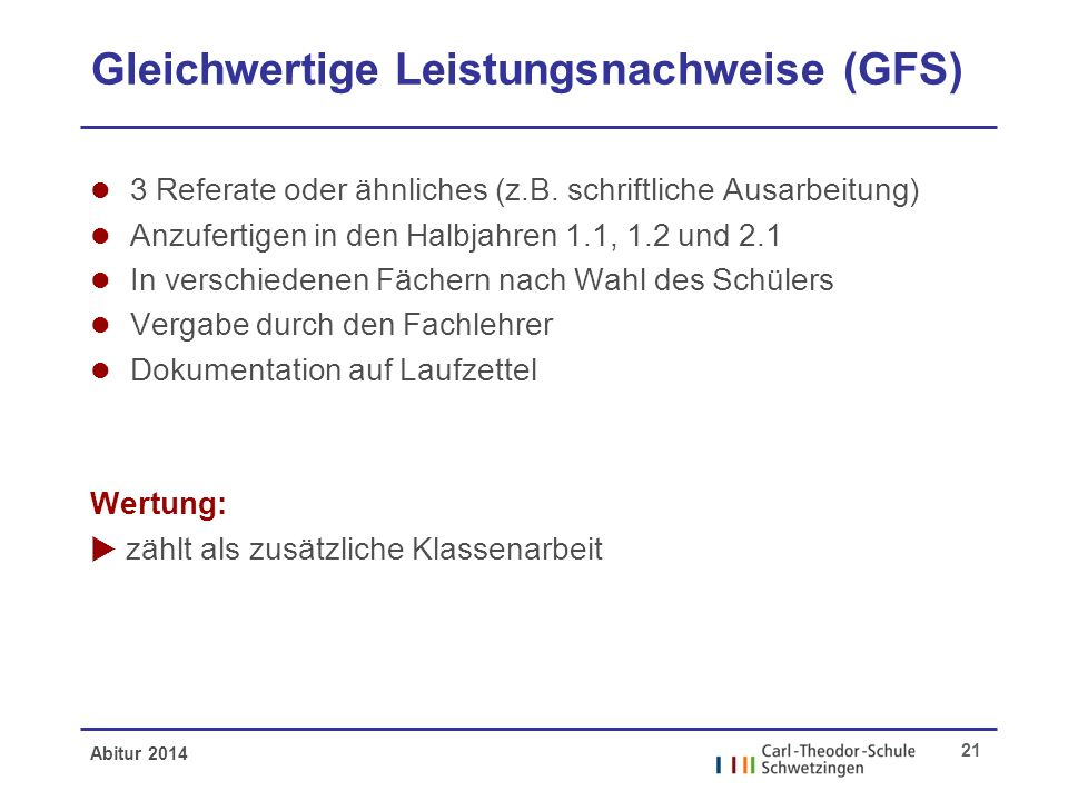 Gleichwertige Leistungsnachweise (GFS)