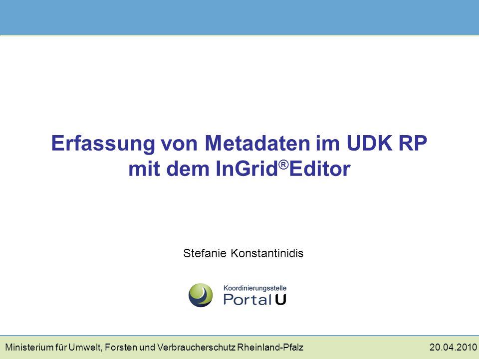 Erfassung von Metadaten im UDK RP mit dem InGrid®Editor