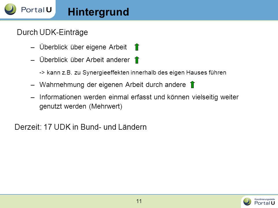 Hintergrund Durch UDK-Einträge Derzeit: 17 UDK in Bund- und Ländern