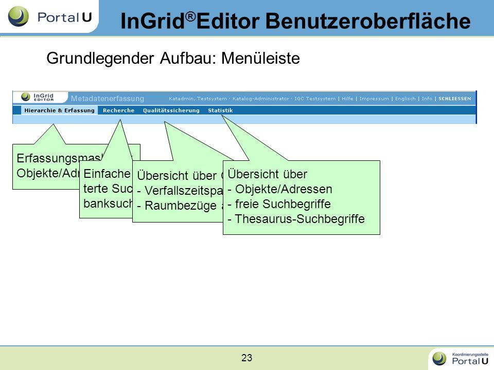 InGrid®Editor Benutzeroberfläche