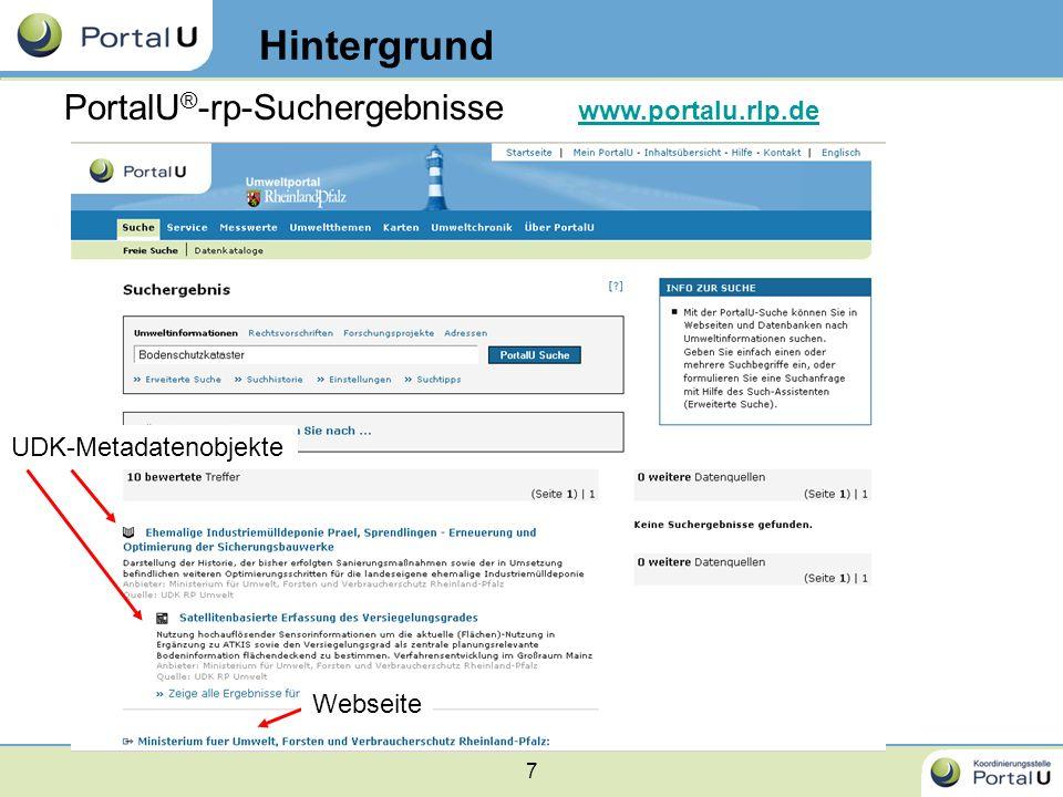 Hintergrund PortalU®-rp-Suchergebnisse www.portalu.rlp.de