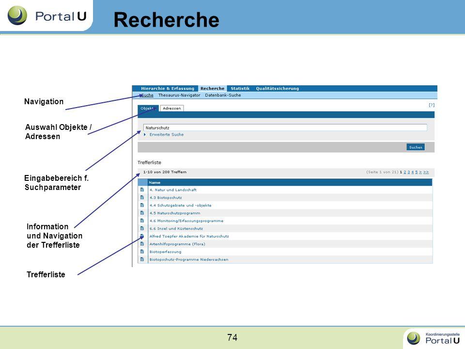Recherche Navigation Auswahl Objekte / Adressen