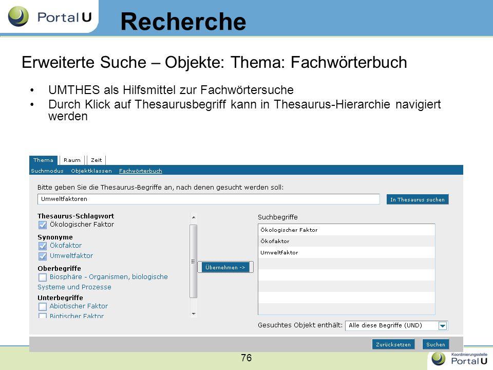 Recherche Erweiterte Suche – Objekte: Thema: Fachwörterbuch
