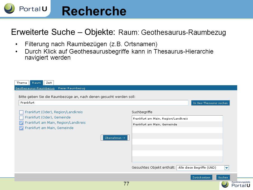 Recherche Erweiterte Suche – Objekte: Raum: Geothesaurus-Raumbezug