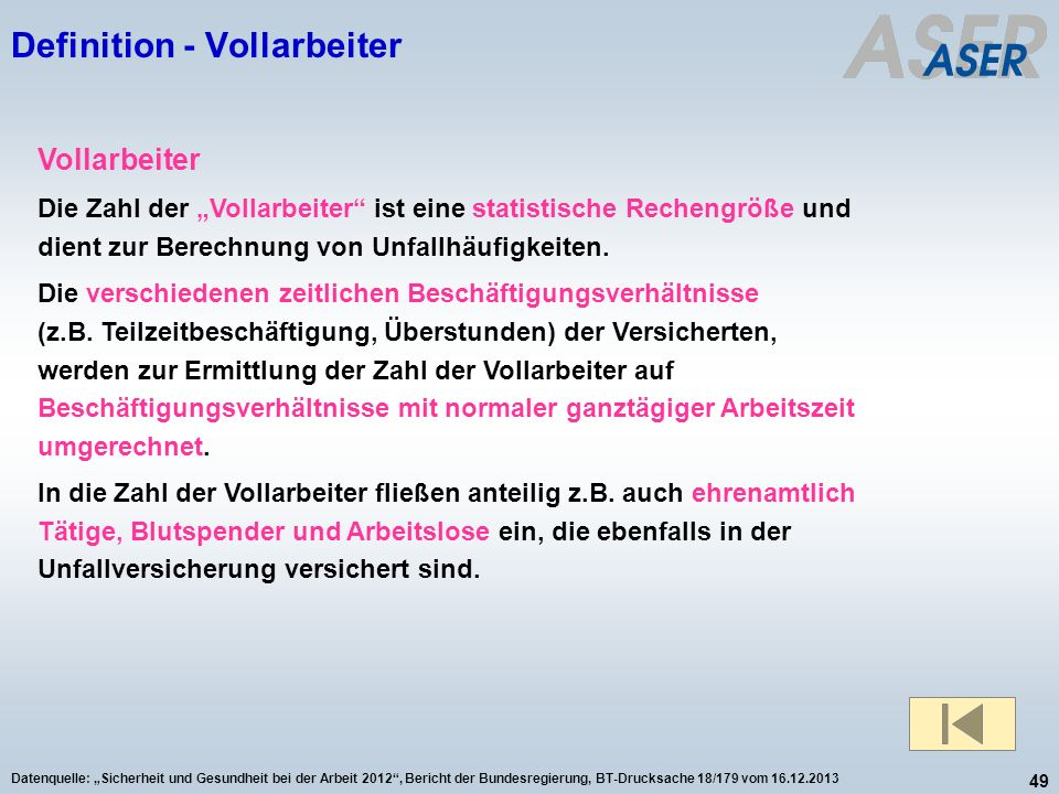 Definition - Vollarbeiter