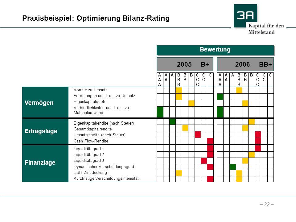 Praxisbeispiel: Optimierung Bilanz-Rating