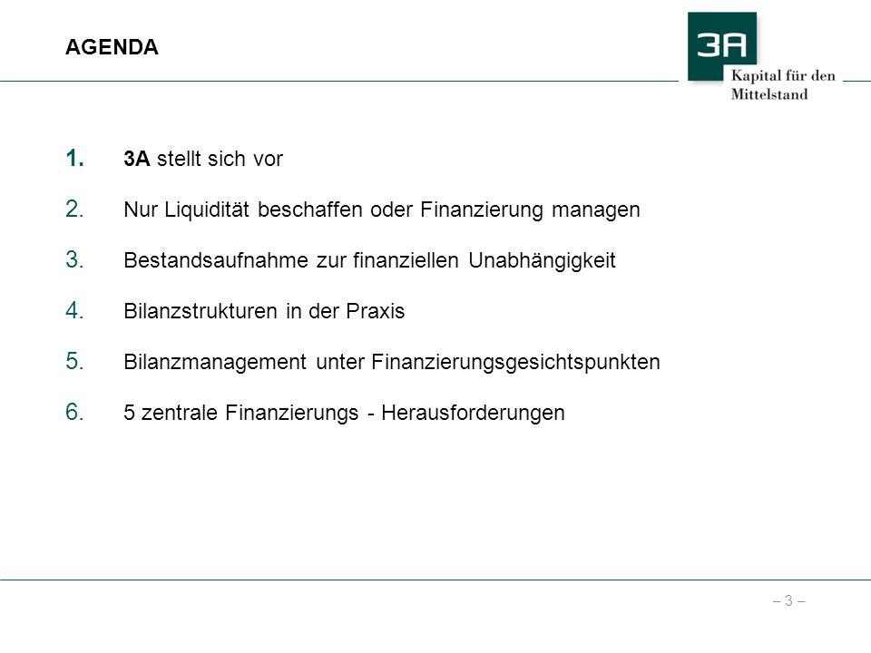 AGENDA3A stellt sich vor. Nur Liquidität beschaffen oder Finanzierung managen. Bestandsaufnahme zur finanziellen Unabhängigkeit.