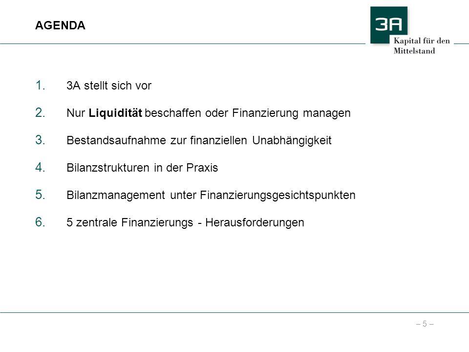 AGENDA 3A stellt sich vor. Nur Liquidität beschaffen oder Finanzierung managen. Bestandsaufnahme zur finanziellen Unabhängigkeit.