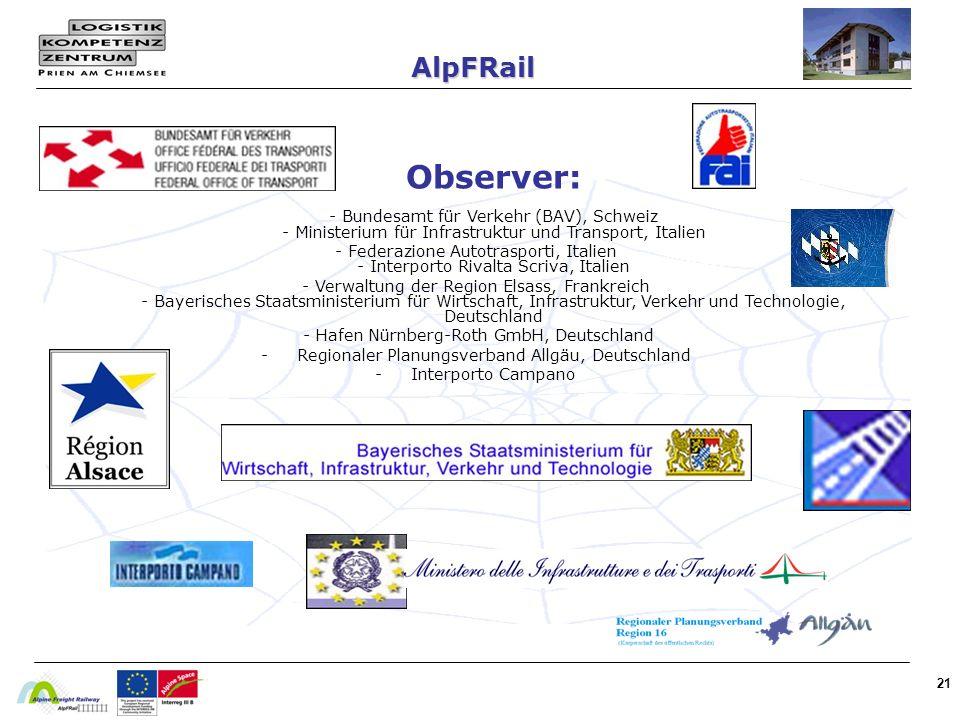 AlpFRail Observer: - Bundesamt für Verkehr (BAV), Schweiz - Ministerium für Infrastruktur und Transport, Italien.