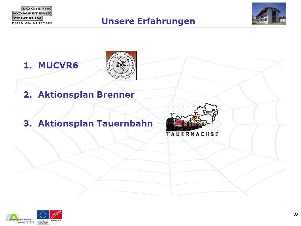 1. MUCVR6 2. Aktionsplan Brenner 3. Aktionsplan Tauernbahn