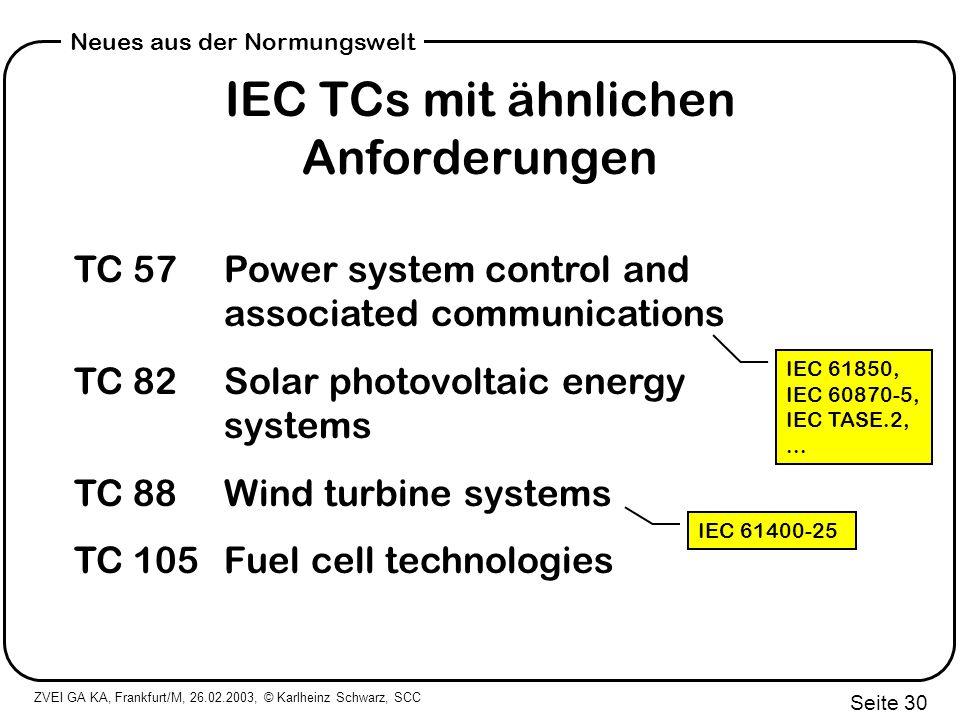 IEC TCs mit ähnlichen Anforderungen
