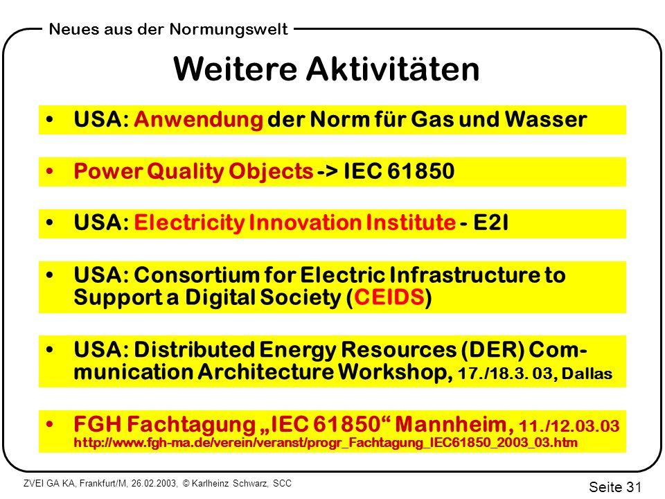 Weitere Aktivitäten USA: Anwendung der Norm für Gas und Wasser