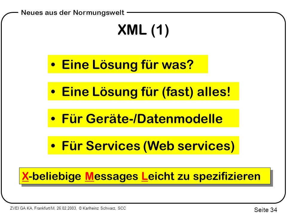XML (1) Eine Lösung für was Eine Lösung für (fast) alles!