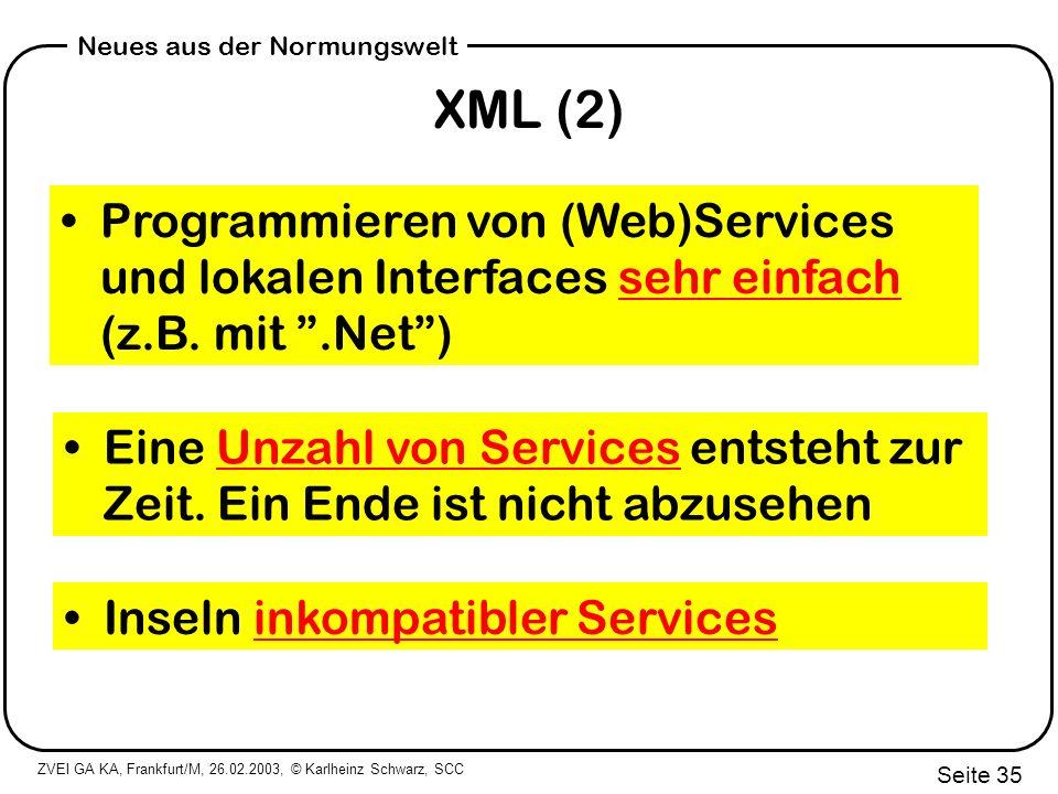 XML (2) Programmieren von (Web)Services und lokalen Interfaces sehr einfach (z.B. mit .Net )