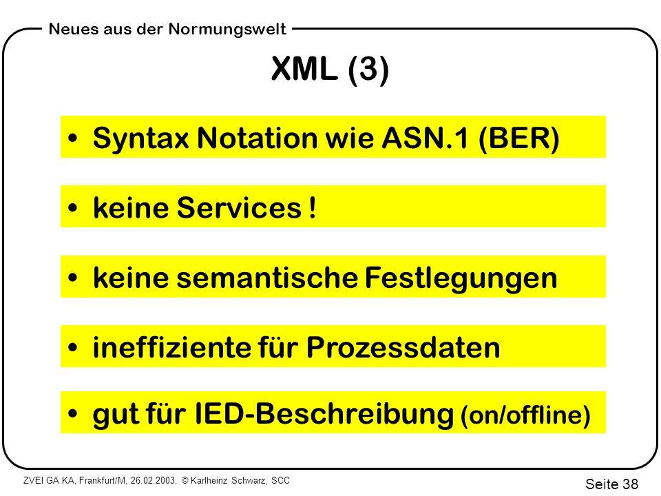 XML (3) Syntax Notation wie ASN.1 (BER) keine Services !