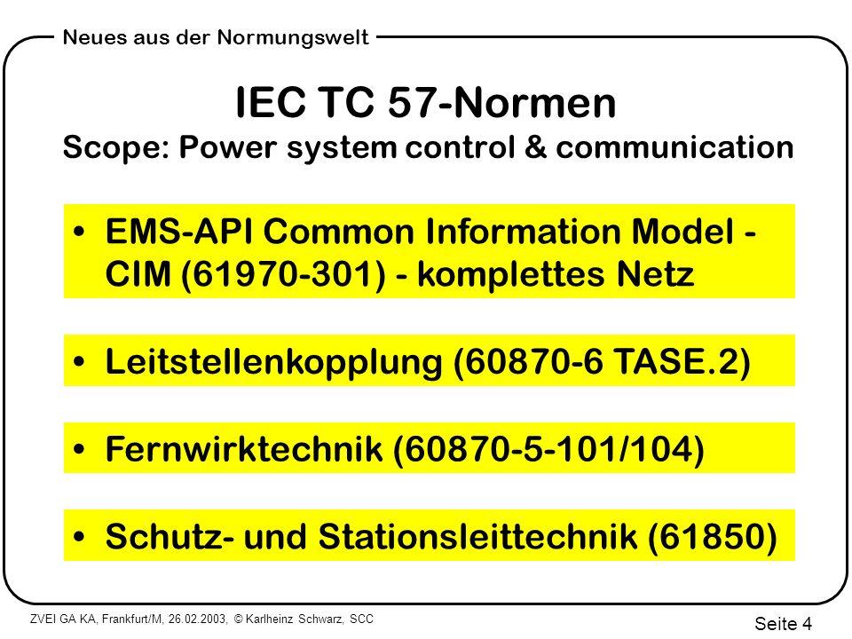 IEC TC 57-Normen Scope: Power system control & communication