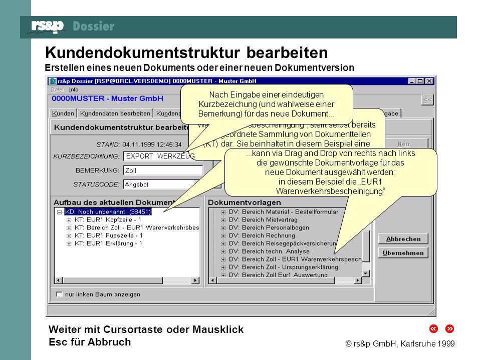 Kundendokumentstruktur bearbeiten