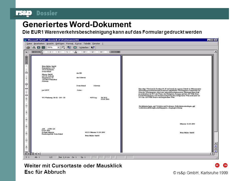 Generiertes Word-Dokument