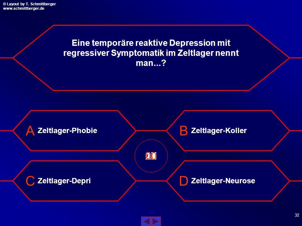 Eine temporäre reaktive Depression mit regressiver Symptomatik im Zeltlager nennt man...