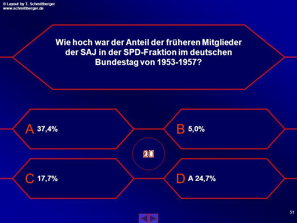 Wie hoch war der Anteil der früheren Mitglieder der SAJ in der SPD-Fraktion im deutschen Bundestag von 1953-1957