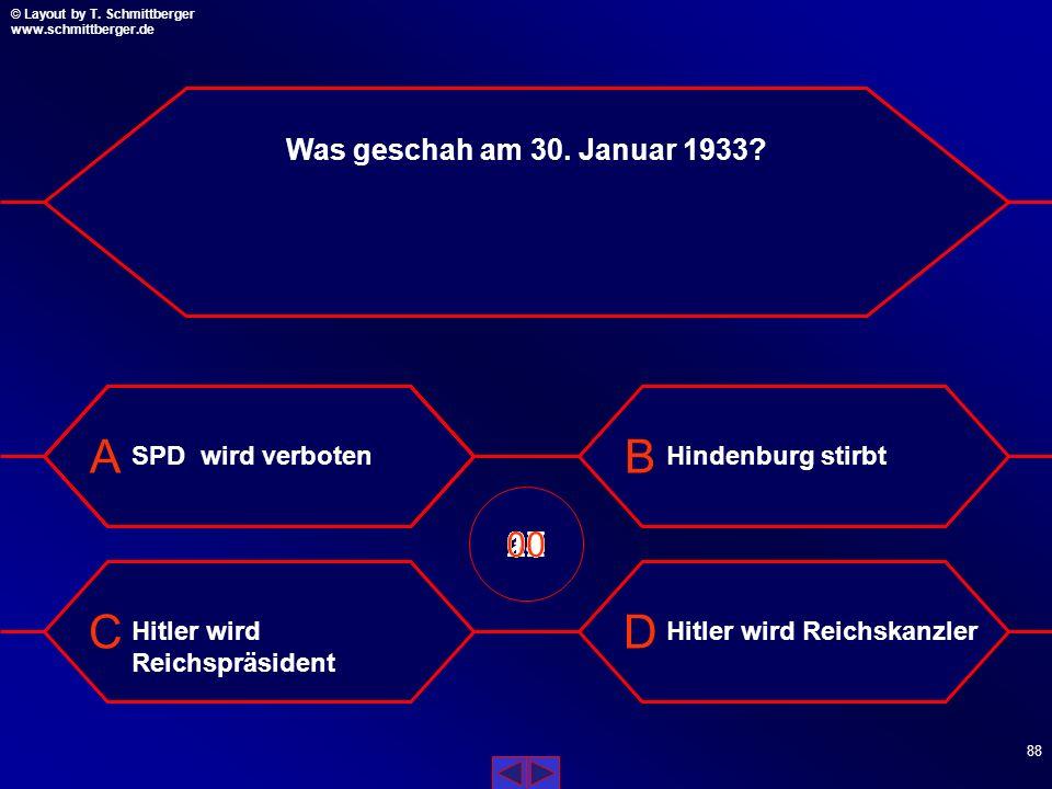Was geschah am 30. Januar 1933 SPD wird verboten. Hindenburg stirbt. 09. 10. 11. 13. 14. 08.