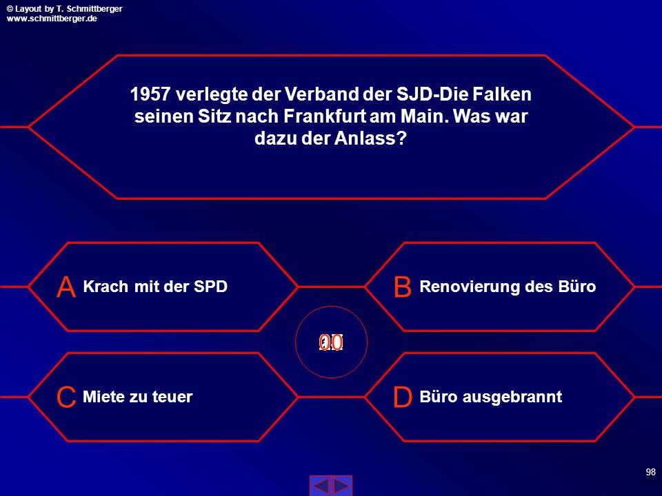 1957 verlegte der Verband der SJD-Die Falken seinen Sitz nach Frankfurt am Main. Was war dazu der Anlass