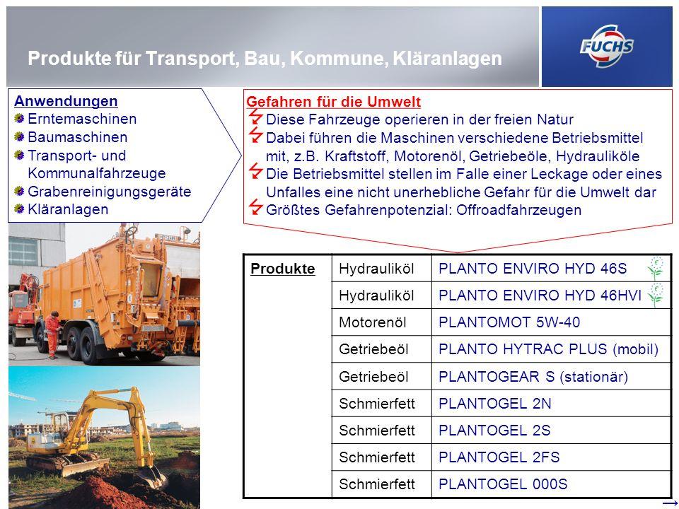 Produkte für Transport, Bau, Kommune, Kläranlagen