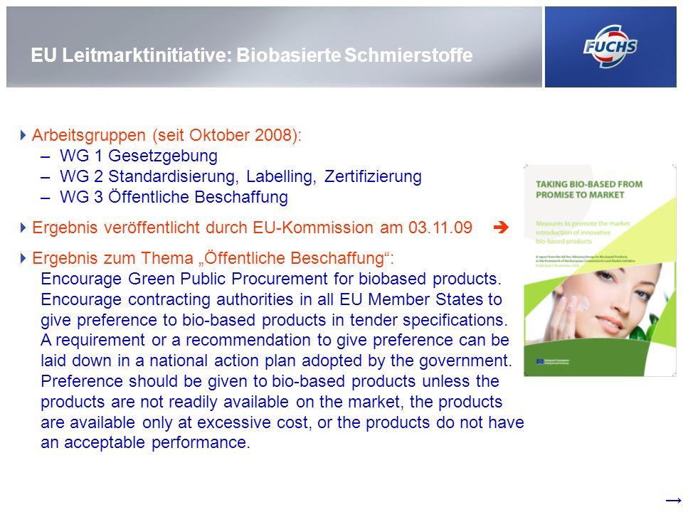 EU Leitmarktinitiative: Biobasierte Schmierstoffe