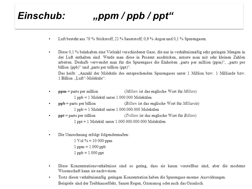 "Einschub: ""ppm / ppb / ppt"