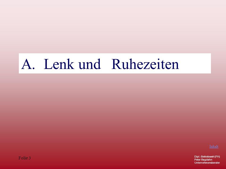 A. Lenk und Ruhezeiten Ausnahmen: Art. 12 Inhalt