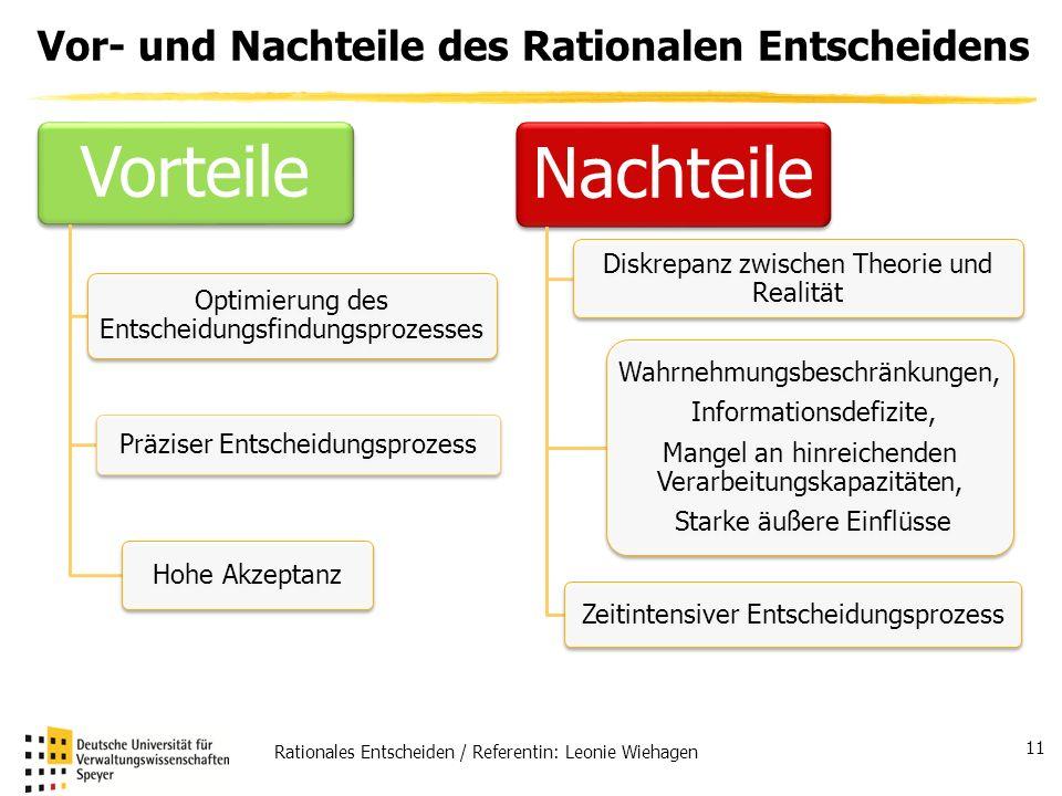 Vor- und Nachteile des Rationalen Entscheidens