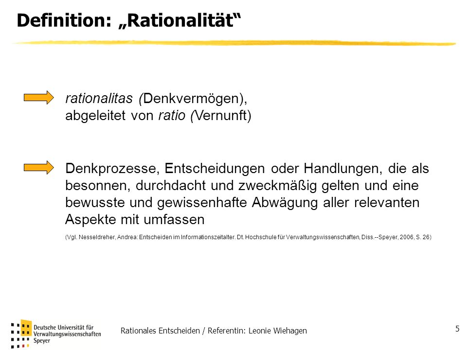 "Definition: ""Rationalität"