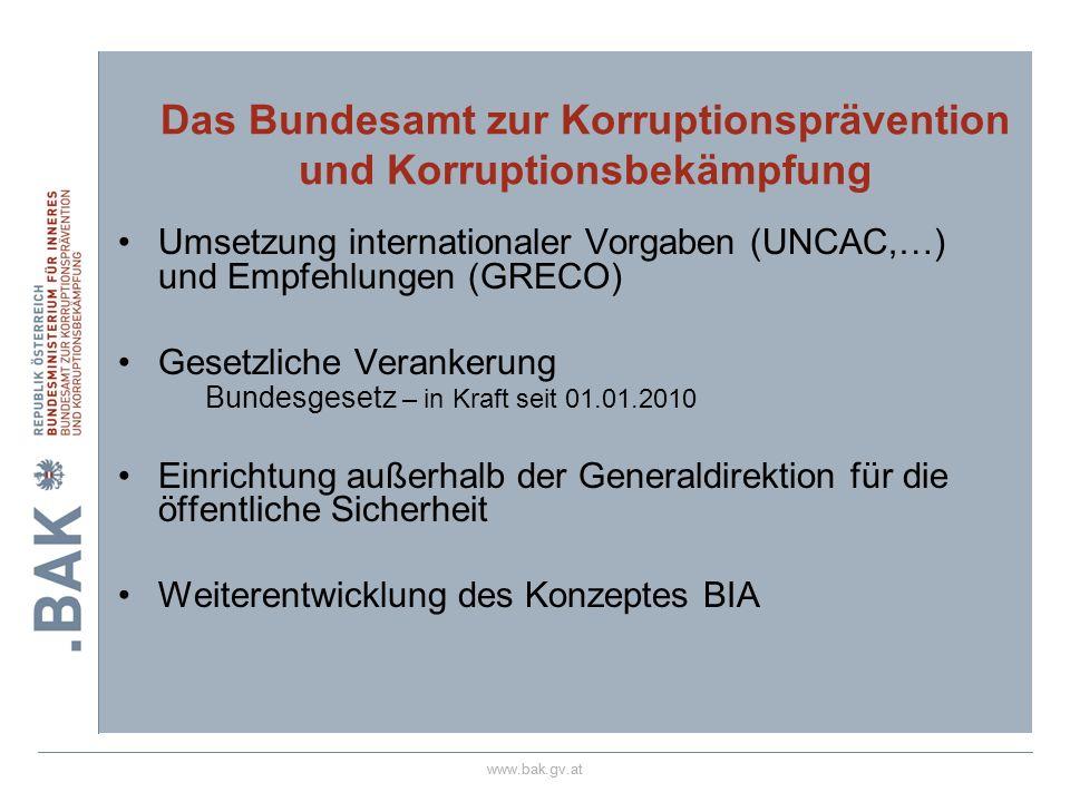 Das Bundesamt zur Korruptionsprävention und Korruptionsbekämpfung