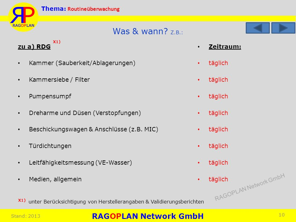 Was & wann Z.B.: X1) zu a) RDG Kammer (Sauberkeit/Ablagerungen)