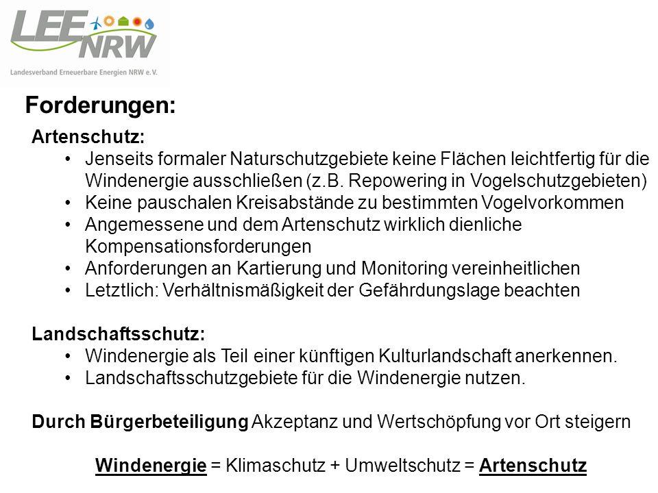 Windenergie = Klimaschutz + Umweltschutz = Artenschutz