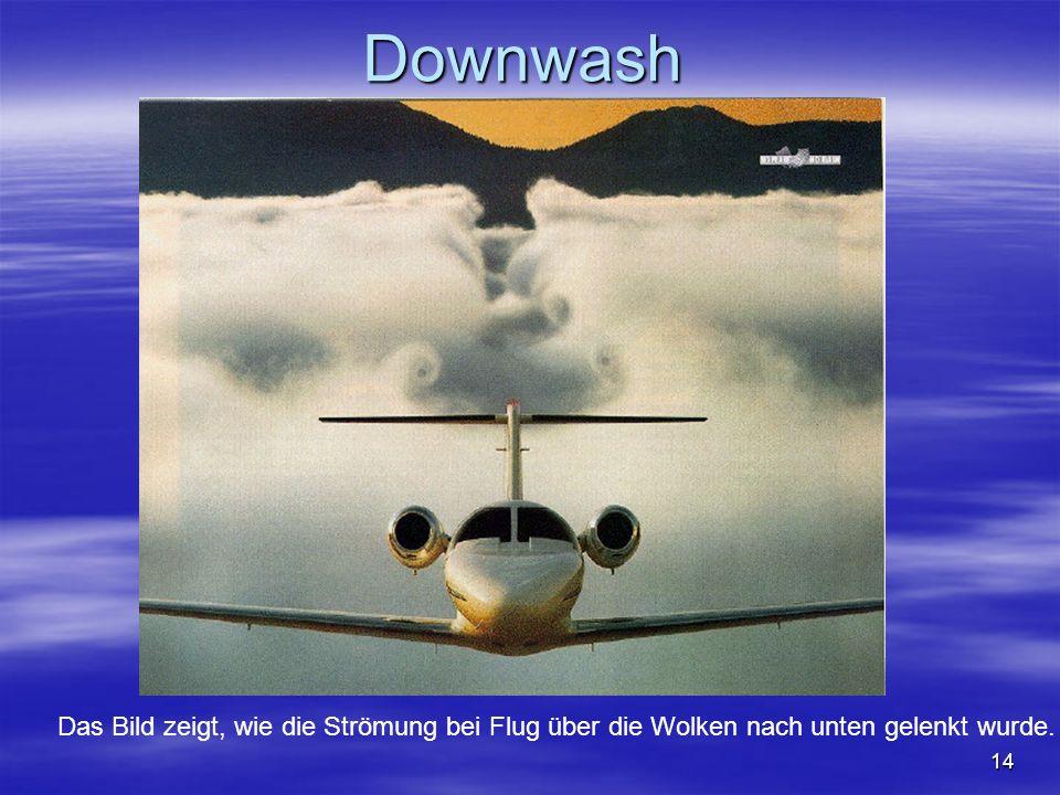 Downwash Das Bild zeigt, wie die Strömung bei Flug über die Wolken nach unten gelenkt wurde.