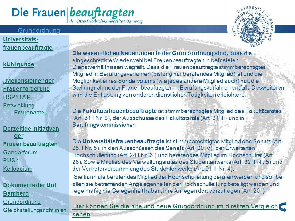 """Grundordnung Universitäts- frauenbeauftragte. kUNIgunde. """"Meilensteine der. Frauenförderung. HSP/HWP."""