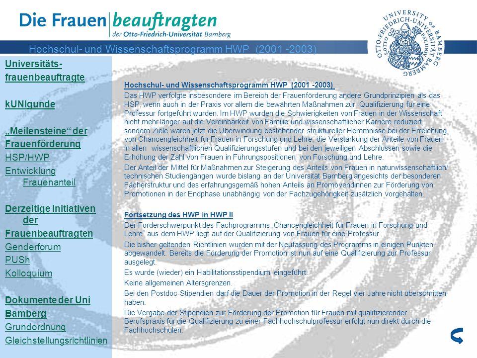 Hochschul- und Wissenschaftsprogramm HWP (2001 -2003)