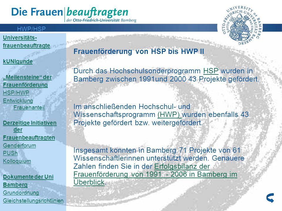 Frauenförderung von HSP bis HWP II