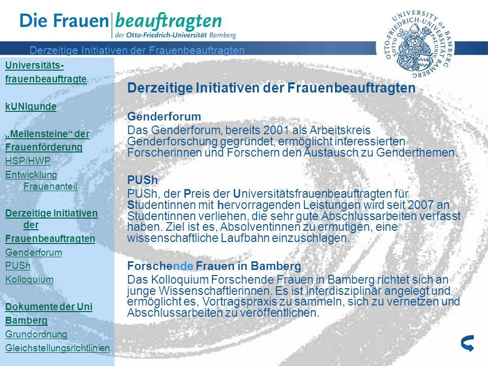 Derzeitige Initiativen der Frauenbeauftragten