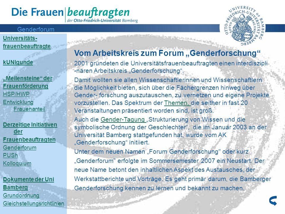 """Vom Arbeitskreis zum Forum """"Genderforschung"""
