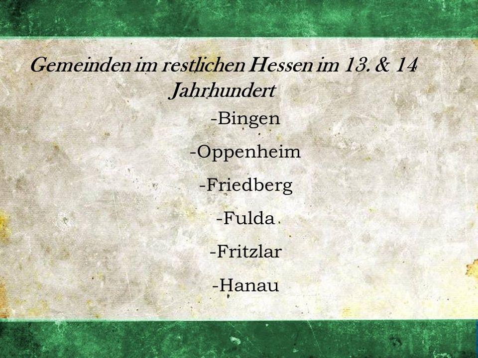 Gemeinden im restlichen Hessen im 13. & 14 Jahrhundert