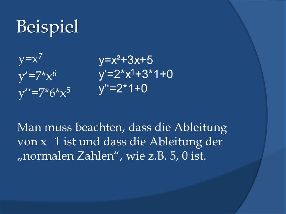 """Beispiel y=x7 y'=7*x6 y''=7*6*x5 Man muss beachten, dass die Ableitung von x 1 ist und dass die Ableitung der """"normalen Zahlen , wie z.B. 5, 0 ist."""