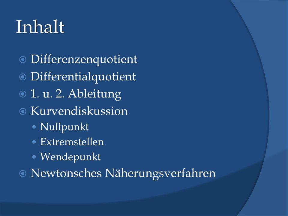 Inhalt Differenzenquotient Differentialquotient 1. u. 2. Ableitung