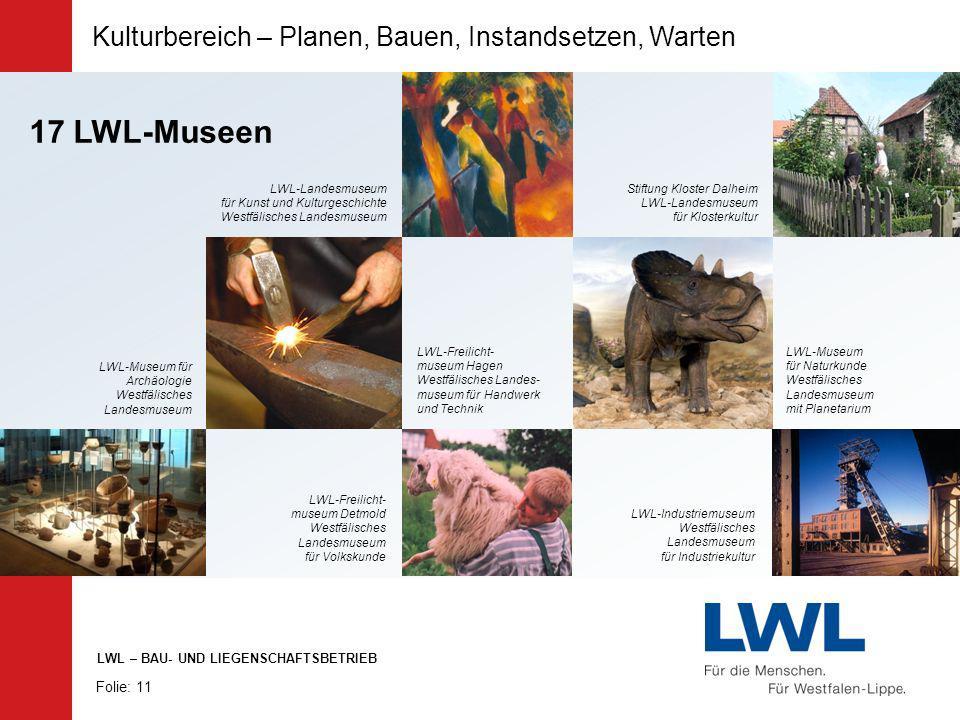 17 LWL-Museen Kulturbereich – Planen, Bauen, Instandsetzen, Warten