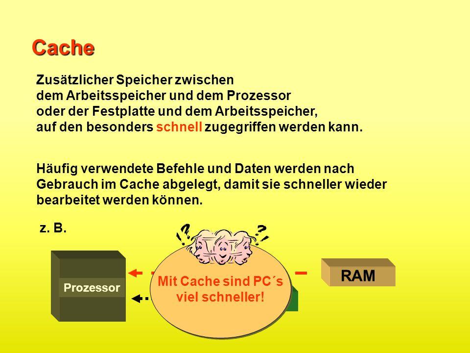 Cache Datenfluss RAM Cache Zusätzlicher Speicher zwischen