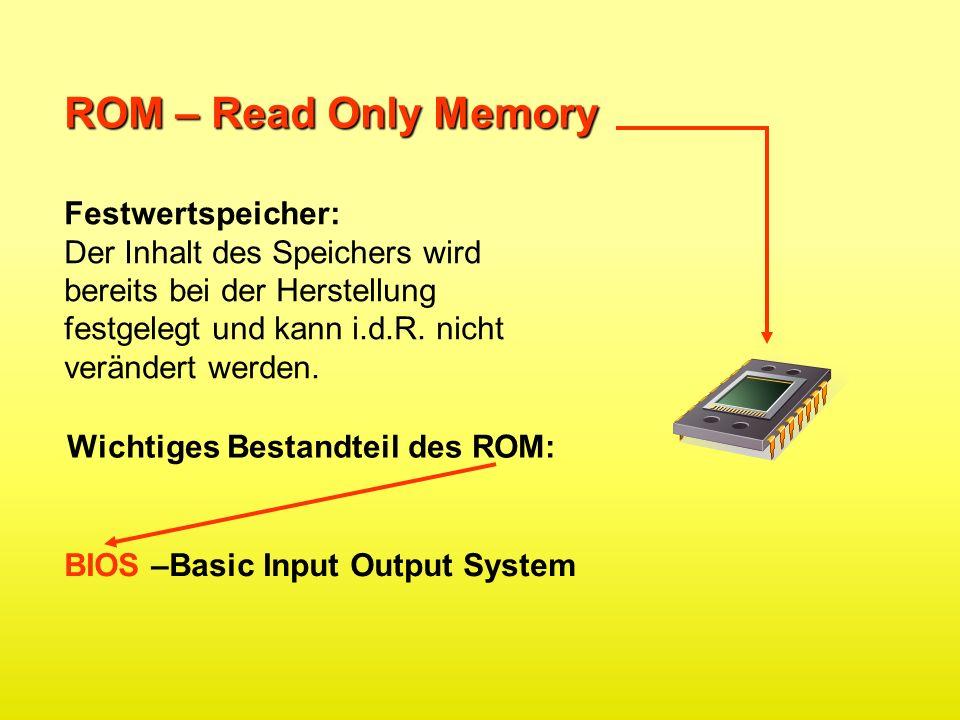 ROM – Read Only Memory Festwertspeicher:
